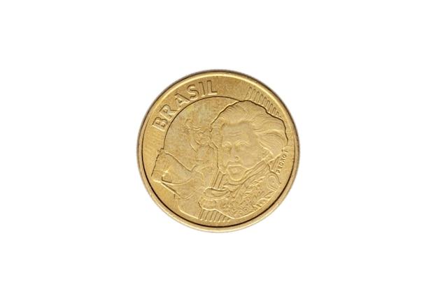 Moeda brasileira de dez centavos de real em fundo branco