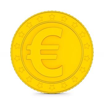 Moeda com o símbolo do euro em fundo branco. ilustração 3d isolada
