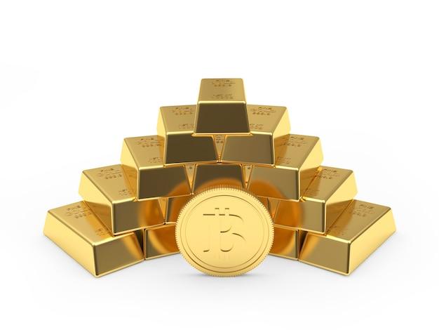 Moeda de bitcoin com pirâmide empilhada de barras de ouro. 3d