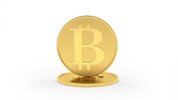 Moeda de bitcoin de ouro fica em uma moeda de dólar