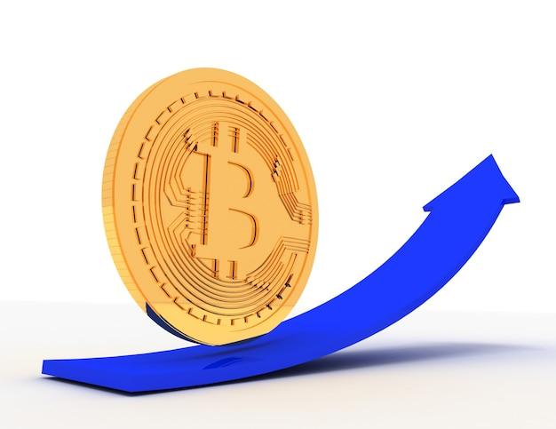 Moeda de bitcoin dourado na seta para cima. ilustração renderizada 3d