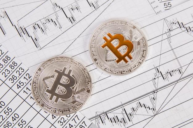 Moeda de bitcoin em chatrts financeiros e gráfico