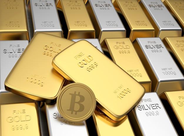 Moeda de bitcoin em fileiras de barras de ouro e prata. 3d