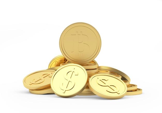 Moeda de bitcoin em uma pilha de moedas de dólar de ouro