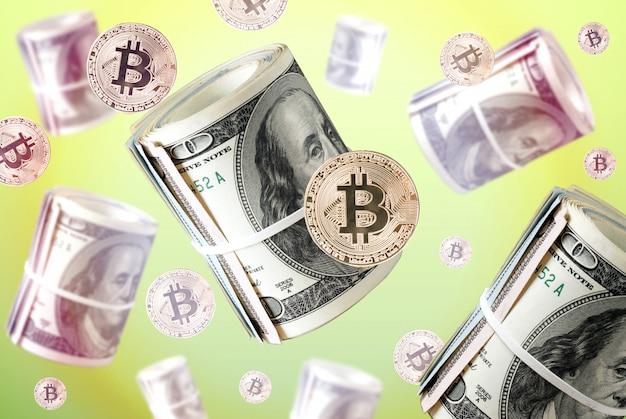 Moeda de bitcoin ouro físico contra notas de dólar e rolos a voar