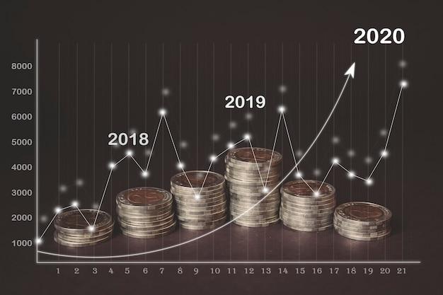 Moeda de dinheiro em cada linha ascendente, holograma virtual de estatísticas, gráfico e gráfico com seta para cima em fundo escuro. mercado de ações. conceito de crescimento, planejamento e estratégia de negócios. marketing digital.