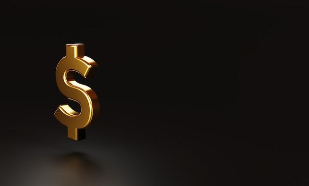 Moeda de dólar americano de ouro realista sobre fundo escuro e espaço de cópia, usd é a principal moeda de troca no mundo. renderização 3d e técnica de ilustração.