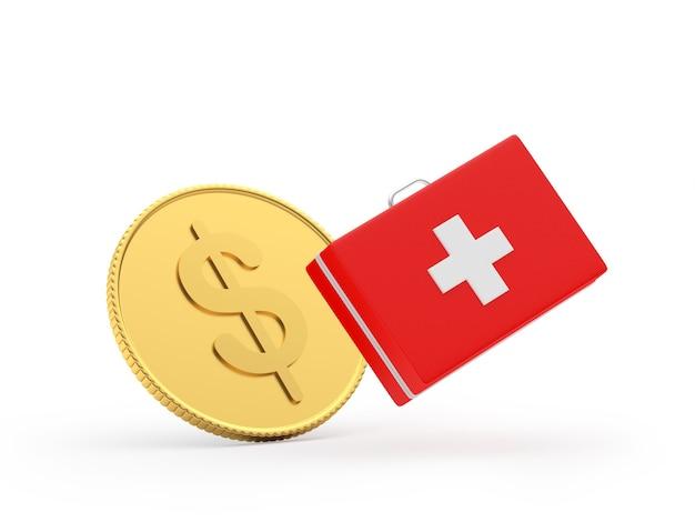 Moeda de dólar de ouro e kit de primeiros socorros 3d