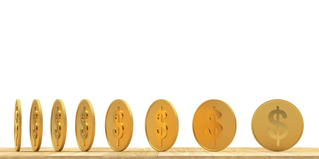 Moeda de dólar de ouro em diferentes ângulos de rotação