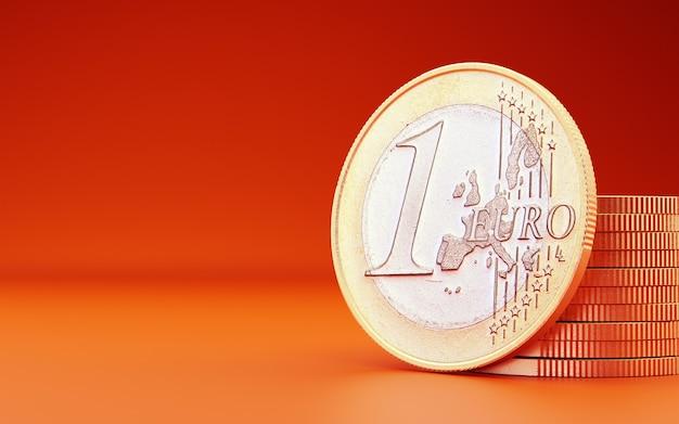 Moeda de euro em fundo laranja. 3d rendem