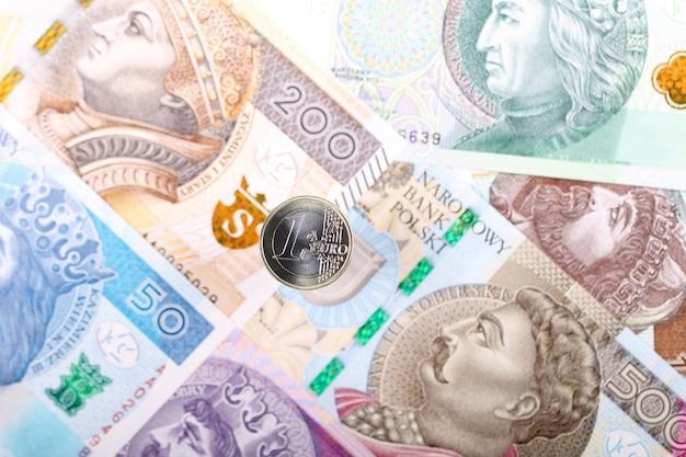 Moeda de euro no fundo das notas polonesas