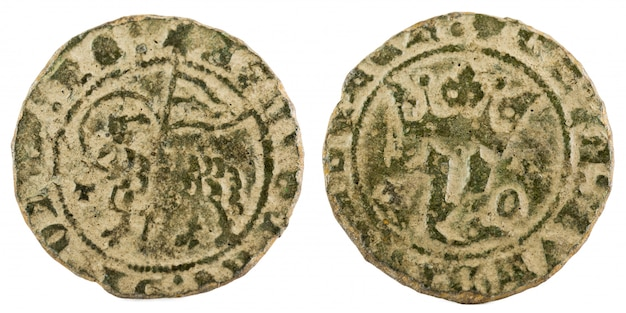Moeda de lã medieval antiga do rei juan i.
