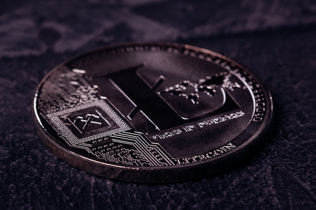 Moeda de metal da moeda criptografada litecoin close-up