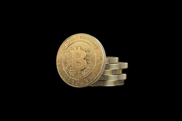 Moeda de ouro bitcoin em um preto