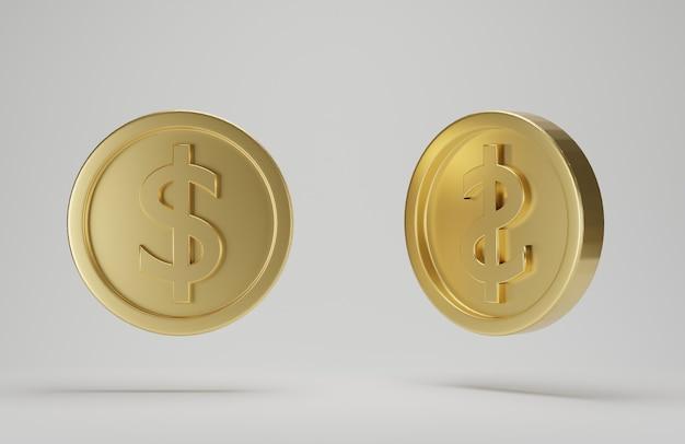 Moeda de ouro com cifrão em fundo branco. renderização 3d.