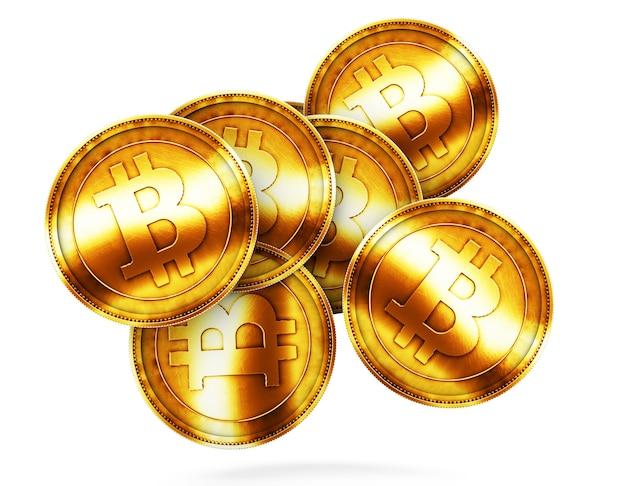 Moeda de ouro com sinal de bitcoin. renderização 3d.