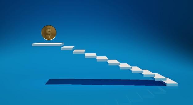 Moeda de ouro de renderização 3d e escada branca sobre fundo azul.