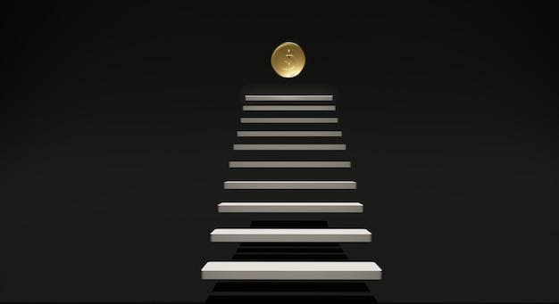 Moeda de ouro de renderização 3d e escada branca sobre fundo preto.