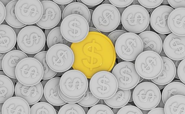 Moeda de ouro na moeda cinza pilha renderização em 3d