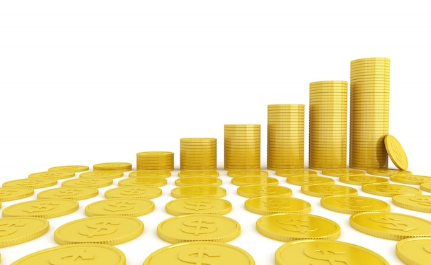 Moeda de ouro renderização em 3d em um fundo branco