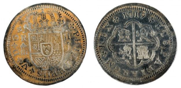 Moeda de prata espanhola antiga do rei felipe v.