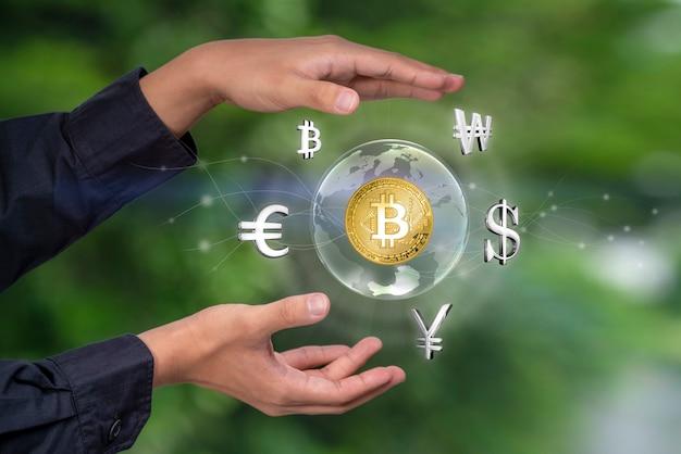 Moeda de renderização 3d nas mãos em concha no fundo do mercado de ações conceito financeiro e de negócios