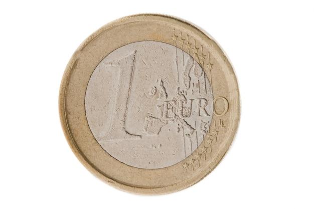Moeda de um euro em um over branco fundo