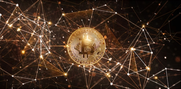Moeda digital bitcoin dourada na rede de criptomoedas etereum