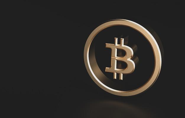 Moeda digital de bitcoin dourado com espaço de cópia. ícone 3d futurista dinheiro digital.