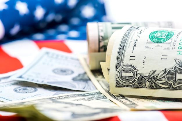 Moeda do dólar americano, notas da américa, dinheiro e finanças