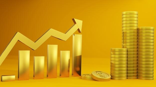 Moeda e tendência de alta do gráfico em vermelho, negócios, finanças e design de plano de fundo de investimento