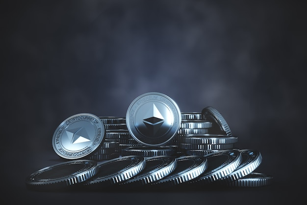 Moeda ethereum de prata (eth) se acumula na tosse fria. para o mercado de criptomoedas, promoção de troca de tokens. renderização 3d
