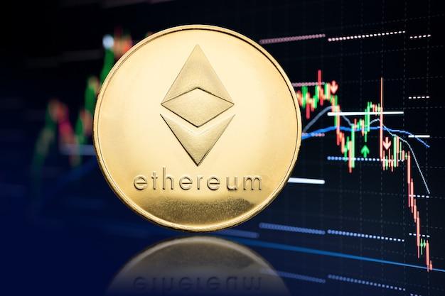 Moeda ethereum e gráfico de ações com queda de preços. criptomoeda