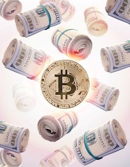 Moeda física de bitcoin do ouro em um fundo branco. nova criptomoeda mundial.