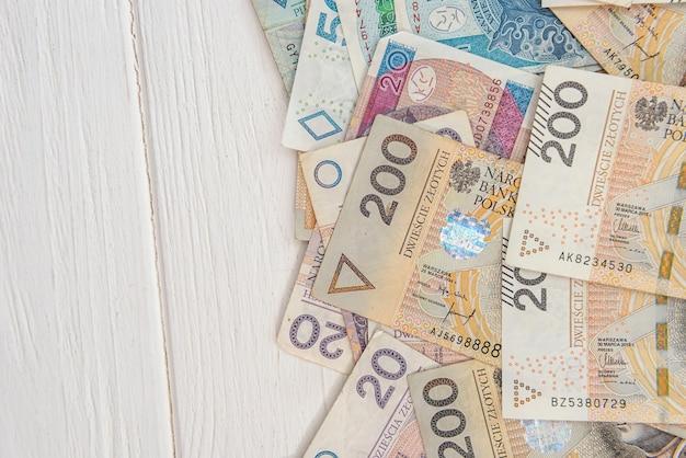Moeda polonesa 20 50 200 pln. conceito de negócios e financeiro.