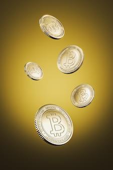 Moedas bitcoin douradas flutuam sobre fundo amarelo para troca de tokens do mercado de criptomoeda, promovendo o propósito de publicidade