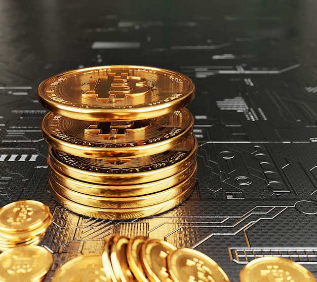 Moedas bitcoin empilhadas em fundo eletrônico com criptomoeda e conceito de economia de dinheiro.