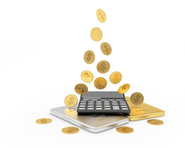 Moedas caem em uma calculadora com barras de ouro e prata