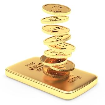Moedas caindo na barra dourada