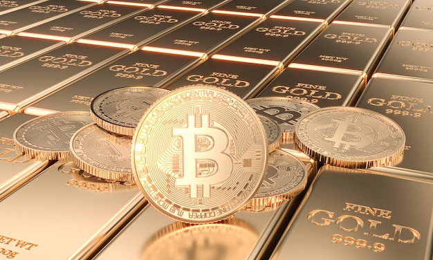 Moedas com símbolo de bitcoin em barras de ouro. imagem 3d render.