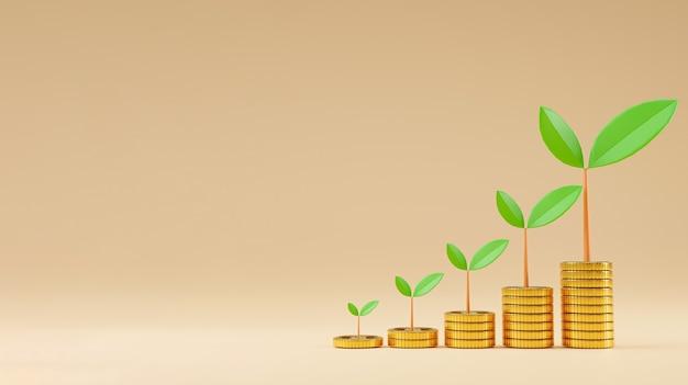Moedas de aumento realista empilhamento e planta de crescimento com espaço de cópia para economia de depósito de dinheiro e conceito de investimento de lucro, técnica de renderização 3d
