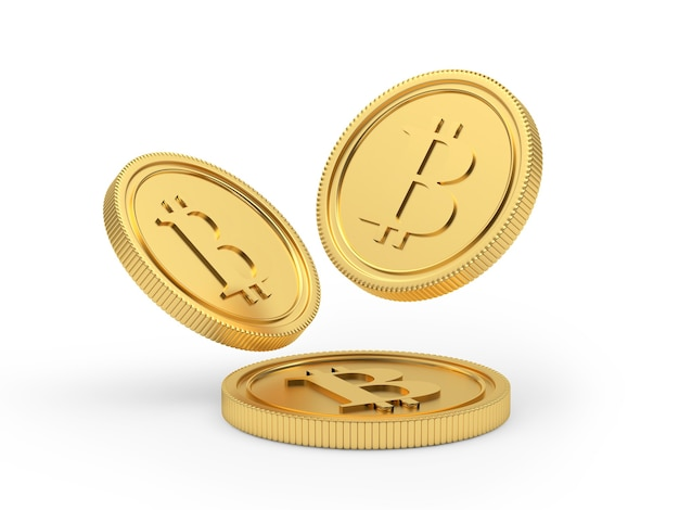 Moedas de bitcoin estão caindo 3d render
