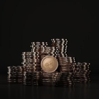 Moedas de bronze ripple (xrp) se acumulam em cena negra, moeda digital para promoção financeira e de troca de tokens. renderização 3d