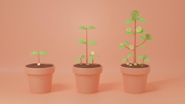 Moedas de dinheiro de ouro crescendo em uma planta de moeda em vaso de árvore para economizar dinheiro financeiro ou passivo