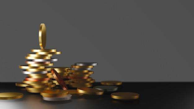 Moedas de dinheiro na mesa com espaço de cópia