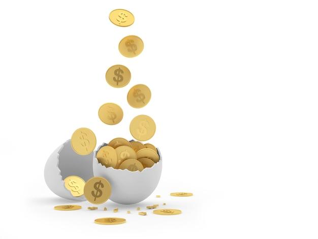 Moedas de dólar caem em cascas de ovo quebradas