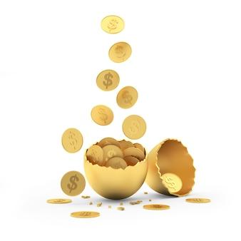 Moedas de dólar caem em metades douradas de cascas de ovo
