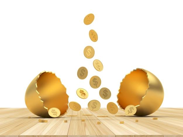 Moedas de dólar caem em um ovo de ouro quebrado na madeira