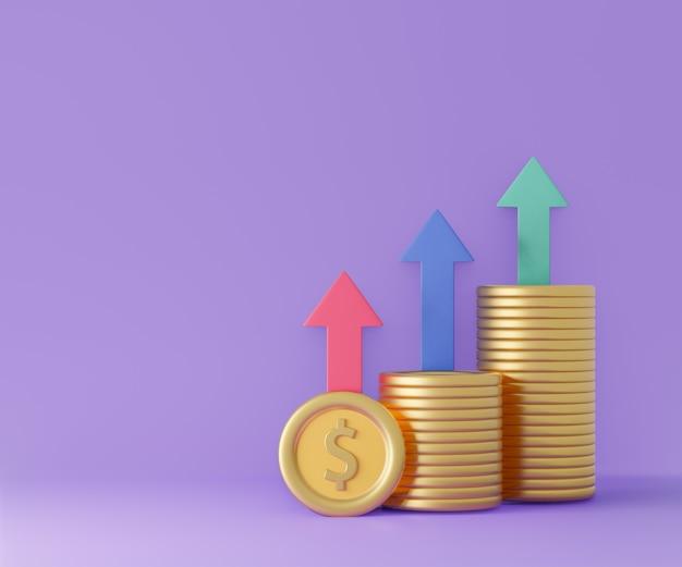 Moedas de dólar com seta para cima, cor azul verde vermelho sobre fundo roxo. renderização de ilustração 3d.