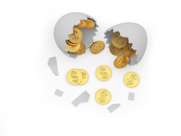 Moedas de dólar dourado caindo de um ovo branco quebrado